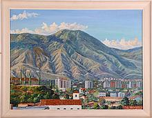 G. Gomez R. (20th Century) Tropical City Scene with Mountains, Oil on canvas laid on board,