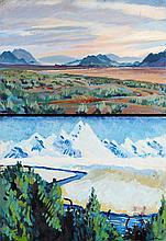 Mark David Gottsegen (1948-2013) Two Landscapes, Acrylic on paper on board,