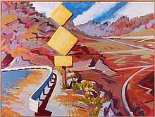 Mark David Gottsegen (1948-2013) The Panamint Valley and the Slate Range, 1990, Acrylic on paper on wood.
