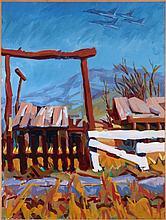 Mark David Gottsegen (1948-2013) Abandoned Ranch, Victorville, CA, 1990, Acrylic on paper on board.