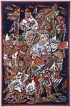 Julian Kolesar (Ukrainian, 20th Century) Festival Scene with Figures, Oil on board,
