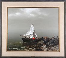 Arturs Upelnieks (Arthur Upelniek) (1911-1994) Coastal Scene Oil on canvas,
