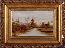 Eugene Alonzo Poole (1841-1912) River Scene, Oil on board,