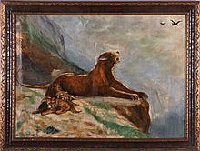 Artist Unknown (20th Century) Lioness and Her Cubs, Oil on canvas,