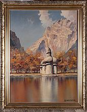 C. Huther Garmiech (20th Century) St. Bartoloma am Koenigsee mit Watzmann Ostwand, Oil on canvas,
