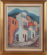 Zvi Ehrman (1903-1993) Street Scene, Oil on canvas laid on board,