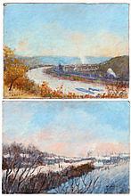 Artist Unknown (20th Century) River Scene, Oil on board,
