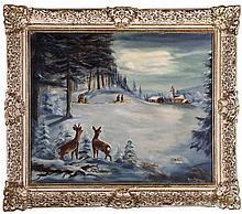 Harry Hoffman (20th Century) Winter Landscape, Oil on canvas,