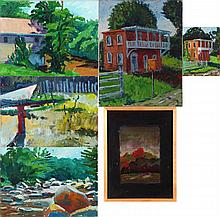 Mark David Gottsegen (1948-2013) Six Works Depicting Landscapes, Acrylic on board.