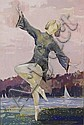 Ottmar von Fuehrer (Pennsylvania, 1900-1967) Dancing Figure in a Landscape, Tempera on paper,, Ottmar F Von Fuehrer, Click for value