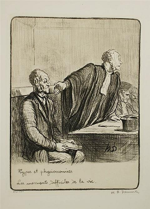 Sold Price: Vintage original lithograph by Honore Daumier