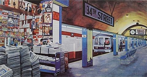 Ken Keeley (American, 20th Century) 34th Street, Serigraph,