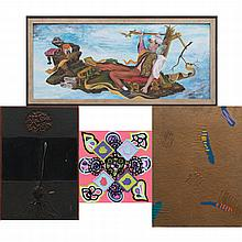 A Group of Four Mixed Media Work by Various Artists, 20th Century,
