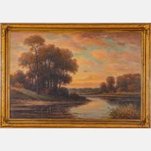 Howard Atkinson (20th Century) River Landscape, Oil on canvas,