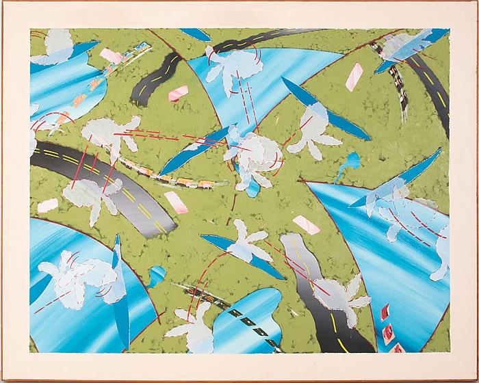 Ken Nevadomi (20th Century) Indians Visit the Landscape II, Oil on canvas,