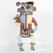 Molly Heizer (b. 1956) Hopi Whipper Kachina Doll, Handmade ceramic,