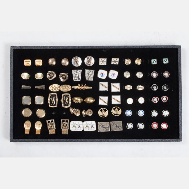 A Miscellaneous Collection of Thirty-Four Pairs of Vintage Cufflinks by Various Makers, 20th Century,