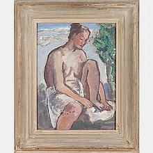 Boardman Robinson (1876-1952) Illustration for 'Leaves of Grass', Portrait of a Nude, Oil on masonite,
