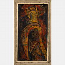 Marco De Marco (1918-2015) Fire Bomb, Oil on board,
