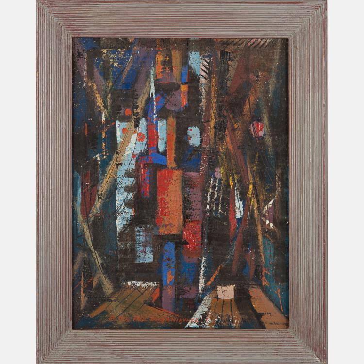 Peter Paul Dubaniewicz (1913-ca. 2003) In Port, Oil on board,