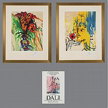 Salvador Dali (1904-1989) Fleurs Surrealist: Gala's Bouquet and The Vanishing Face, Color lithographs,