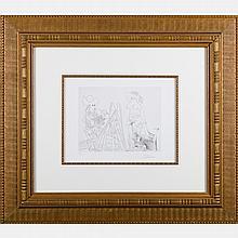 Pablo Picasso (1881-1973) Peintre et Modele qui se Cache le Visage, Etching on wove BFK Rives paper,