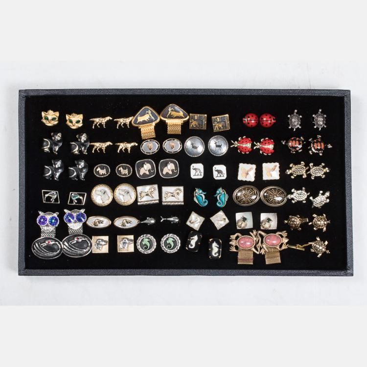 A Miscellaneous Collection of Thirty-Five Pairs of Vintage Cufflinks by Various Makers, 20th Century,