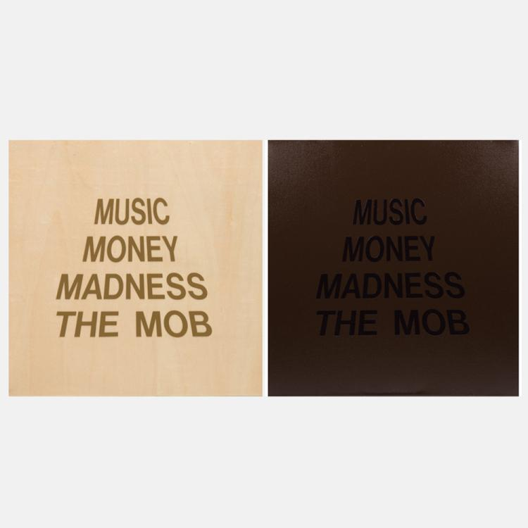 William Radawec (1952-2011) Two Artworks from the 'Mob Series', One vinyl lettering on wood and one vinyl lettering on paper,