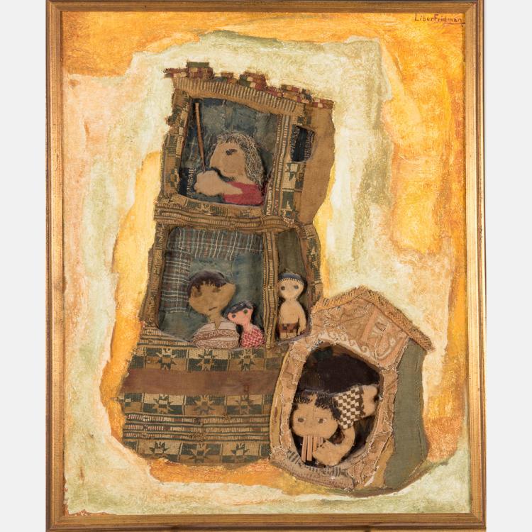 Liber Fridman (1910-2003) Untitled, Mixed media on canvas,