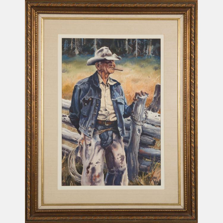 James Erwin Boren (1921-1990) Boss of the Black Mesa Country, Watercolor and gouache on paper,