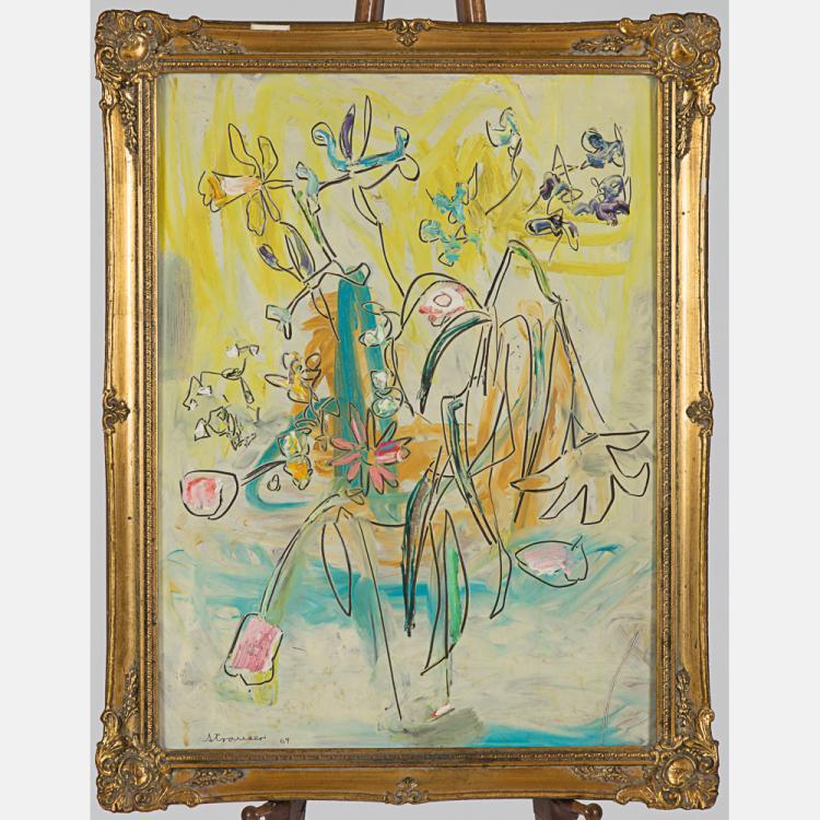 Sterling Boyd Strauser (1907-1995) Floral Still Life, Oil on masonite,