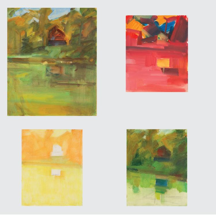 Marco De Marco (1918-2015) A Group of Four Landscapes, Oil on canvas,
