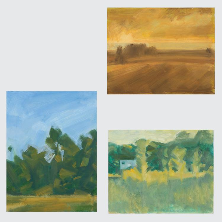 Marco De Marco (1918-2015) A Group of Three Landscapes, Oil on canvas,