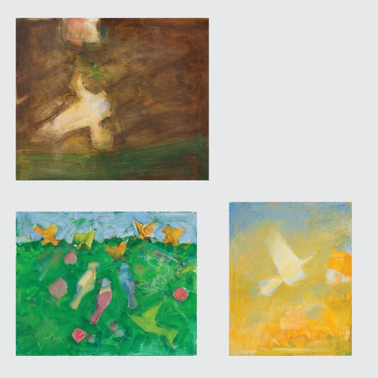 Marco De Marco (1918-2015) A Group of Three Studies of Birds, Oil on canvas,