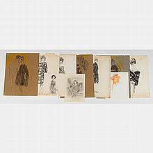 Marco De Marco (1918-2015) A Collection of Fashion Illustrations, Charcoal and watercolor.
