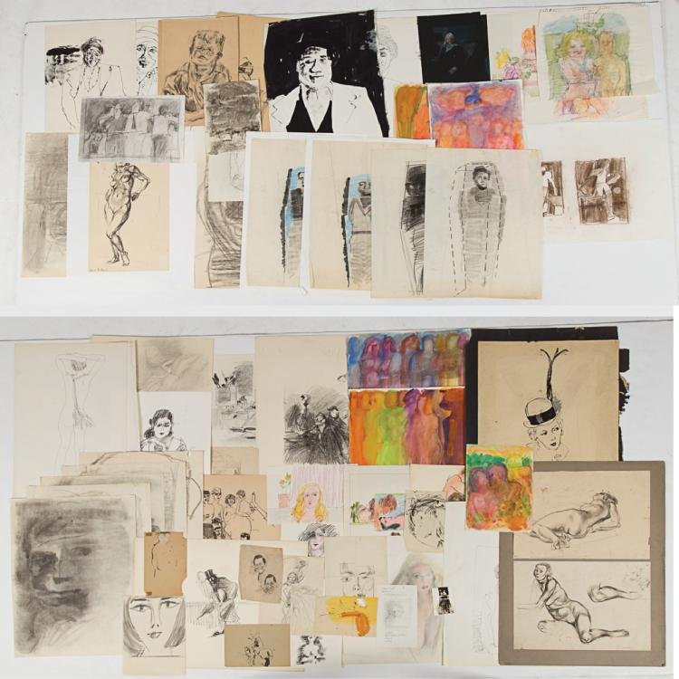 Marco De Marco (1918-2015) A Collection of Figural Studies on Paper, Watercolor, ink, graphite and pastel.