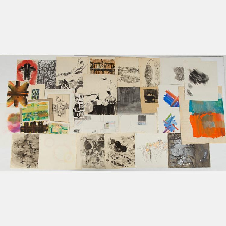 Marco De Marco (1918-2015) A Collection of Abstract Studies on Paper, Watercolor, acrylic, ink, charcoal, and graphite.