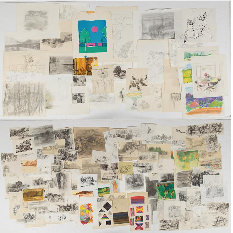 Marco De Marco (1918-2015) A Collection of Landscape Studies on Paper, Watercolor, ink, graphite and pastel.