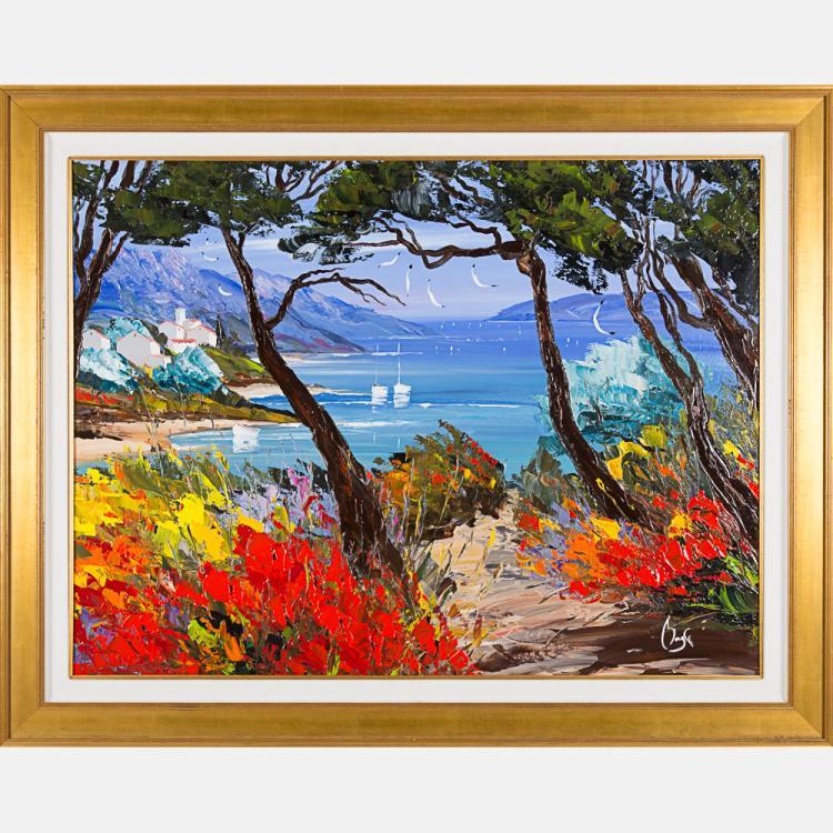 Louis Magre (b. 1955) Summer Stillness, Oil on canvas,
