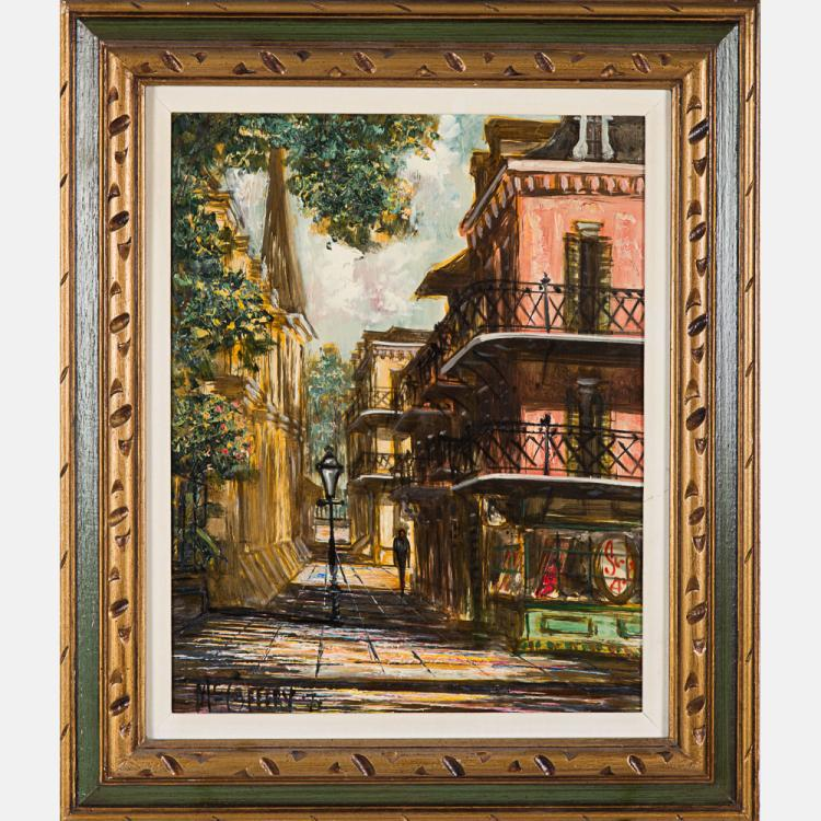 McCafferty (20th Century) City Scene, Oil on canvas,