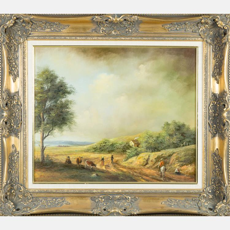 A. De Angelis (20th Century) Pastoral Scene, Oil on canvas,
