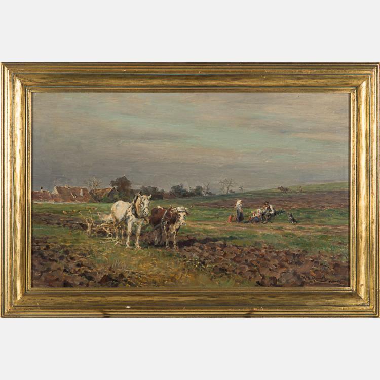 Karl Stuhlmuller (1859-1930) Landscape with Figures, Oil on board,