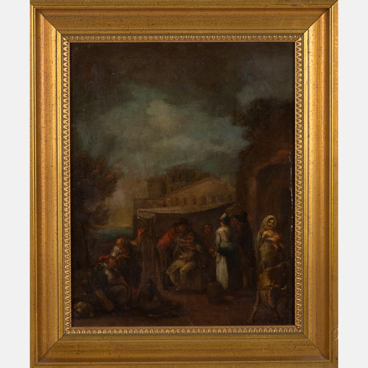 Attributed to Nicolas Louis Albert Delerive (1755-1818) Village Scene, Oil on canvas,
