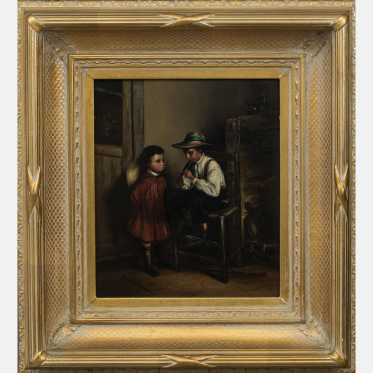 Artist Unknown (Continental School, 19th Century) Interior Scene with Children, Oil on board,