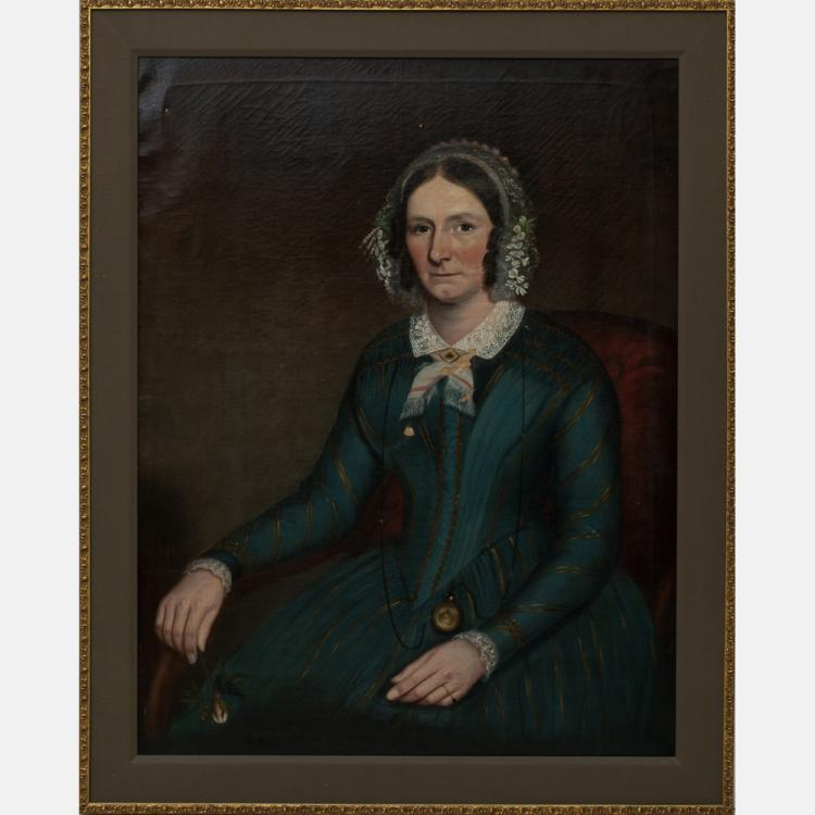 Attributed to Ammi Phillips (1788-1865) Portrait of a Lady Holding a Rose, Oil on canvas,