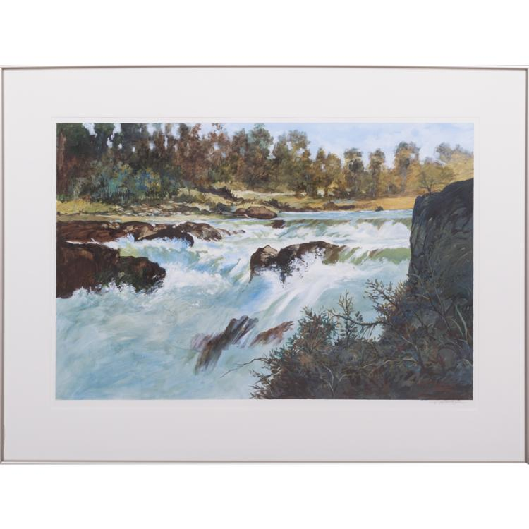 Don Trager (20th Century) River Scene, Acrylic on paper,