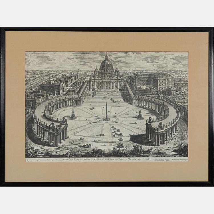 Giovanni Battista Piranesi (1720-1778) Veduta dell'insigne Basilica Vaticana Coll'ampio Portico e Piazza Adjacente, Etching on laid paper with center fold crease.