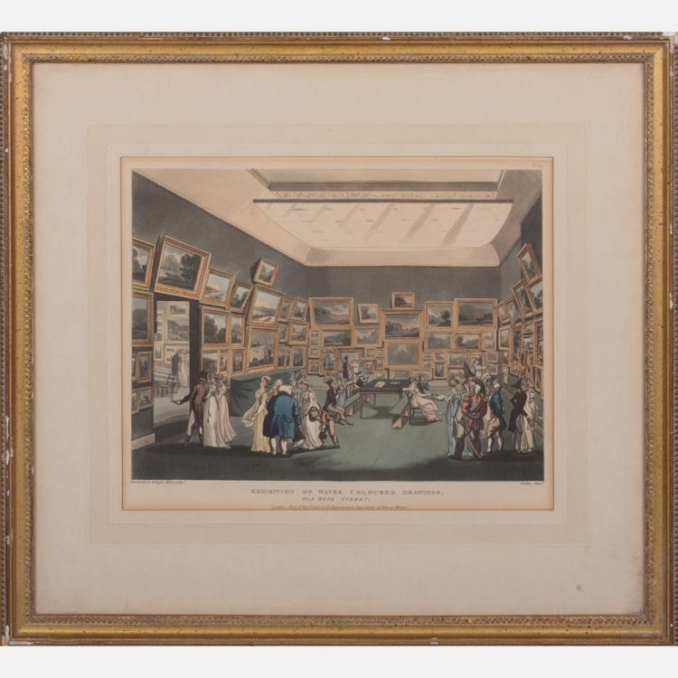 Thomas Rowlandson (1756-1827) Exhibition of Water Colored Drawings, Old Bond Street, Colored etching.