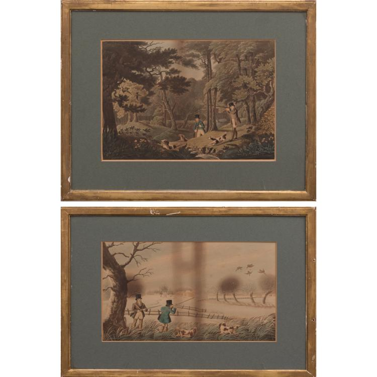 Robert Havell II (1793-1878) 'Pheasant Shooting' and 'Snipe Shooting', Two etching and aquatints with hand-coloring on laid paper.