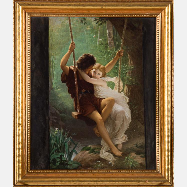 A KPM Painted Porcelain Plaque after 'Springtime' by Pierre Auguste Cot (1837-1883), Late 19th Century,